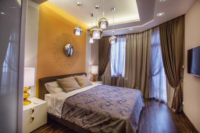 Потолок в спальне: дизайн, виды, цвет, фигурные конструкции, освещение, примеры в интерьере