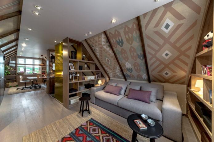 Потолок на мансарде: дизайн, цвет, виды (натяжной, гипсокартонный и др), освещение