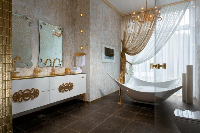 Декоративная штукатурка в ванной: виды, цвет, дизайн, варианты отделки (стены, потолок)
