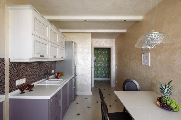 Декоративная штукатурка на кухне: виды, идеи дизайна, цветовая гамма, отделка фартука
