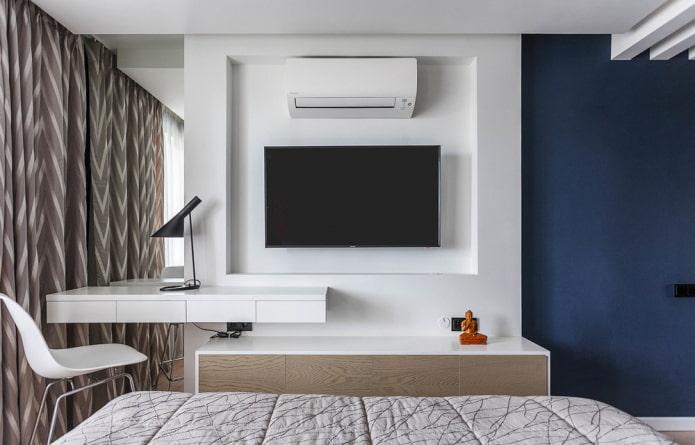 Ниша под телевизор: виды, дизайн, материалы оформления (гипсокартон, ламинат, обои и др.)