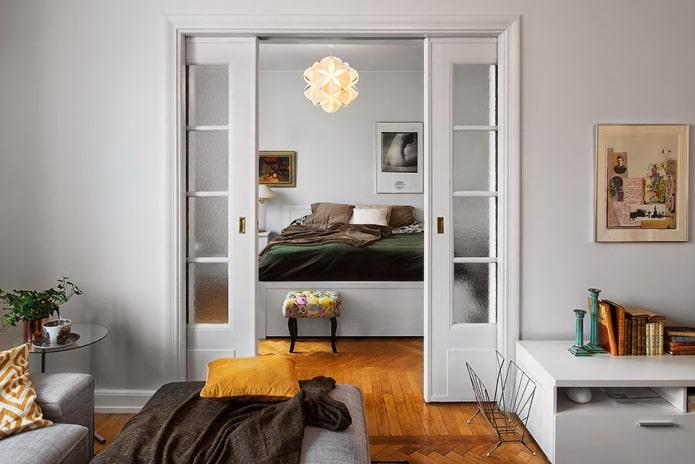 Межкомнатные двери-купе: фото, дизайн, виды, материалы, цвет, декор