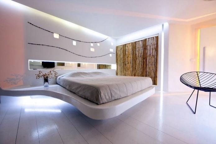 Парящая кровать в интерьере: виды, формы, дизайн, варианты с подсветкой