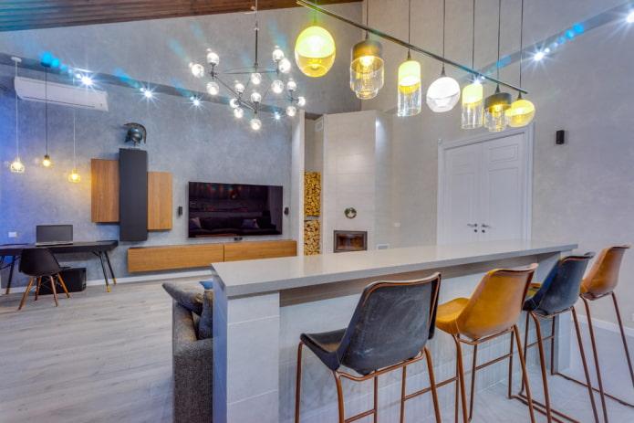 Барная стойка в гостиной: виды, формы, варианты расположения, цвета, материалы, дизайн