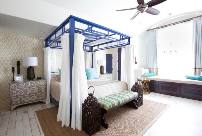 Кровать с балдахином: виды, выбор ткани, дизайн, стили, примеры в спальне и детской
