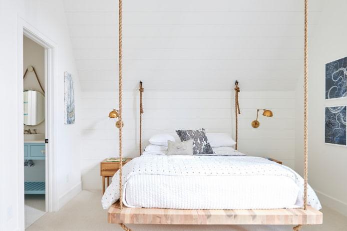 Подвесная кровать: виды, варианты крепления к потолку, формы, дизайн, идеи для улицы