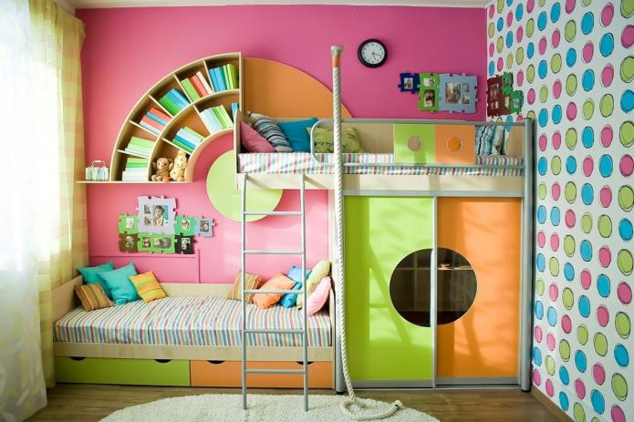 Детские двухъярусные кровати: фото в интерьере, виды, материалы, формы, цвета, дизайн