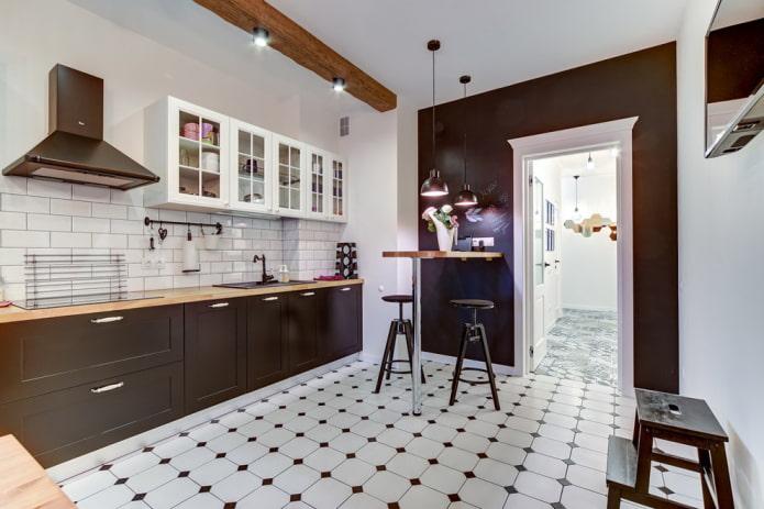 Плитка для кухни на пол: дизайн, виды, цвета, варианты раскладки, формы, стили