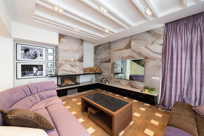 Плитка в гостиной комнате: виды, фото в интерьере, дизайн, цвета, примеры раскладки
