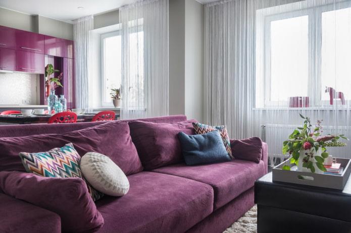 Фиолетовый диван в интерьере: виды, материалы обивки, механизмы, дизайн, оттенки и сочетания