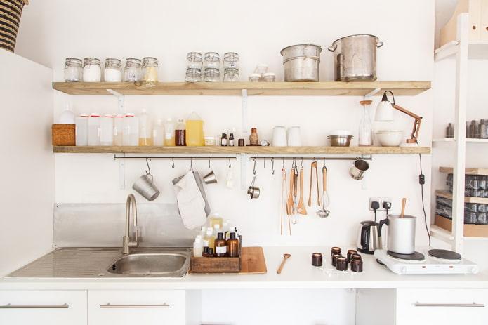 Полки для кухни: виды, материалы, цвет, дизайн. Как расположить? Что поставить?