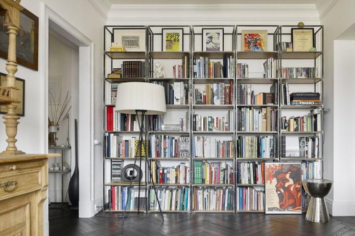 Стеллаж в интерьере: варианты наполнения, материалы, цвета, расположение в комнате