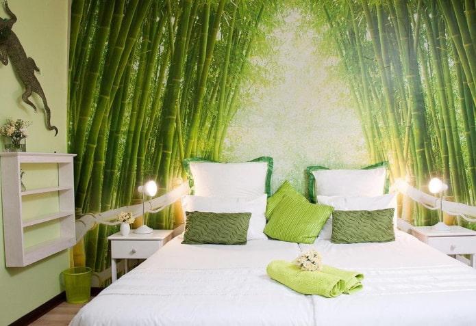 Зеленая спальня: оттенки, сочетания, выбор отделки, мебели, штор, освещения