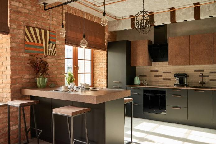 Кухня в стиле лофт: выбор цвета, отделки, мебели, освещения и декора