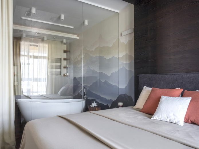 Ванная в спальне: плюсы и минусы, фото в интерьере