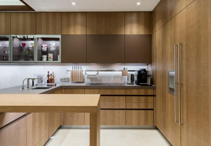 Коричневая кухня 88 фото зелено-коричневые и шоколадные темно-коричневые и серо-коричневые желто-коричневые и другие цвета кухонного гарнитура в интерьере