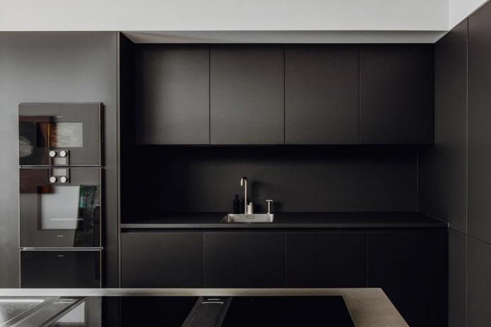 Черная кухня: особенности дизайна, сочетания, реальные фото