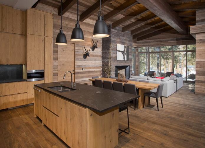 Советы по оформлению интерьера кухни-гостиной в частном доме