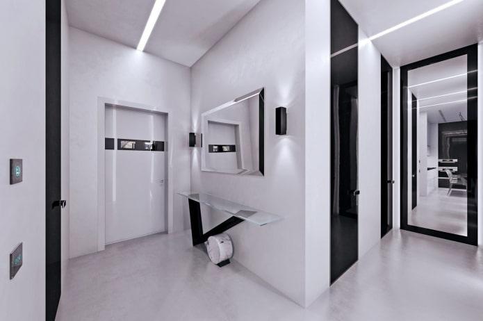 Как оформить дизайн коридора и прихожей в стиле хай-тек?