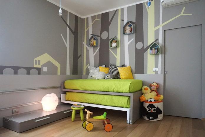 Интерьер детской в сером цвете: фото обзор лучших решений