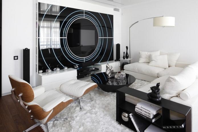 Особенности дизайна гостиной в стиле хай-тек (46 фото)
