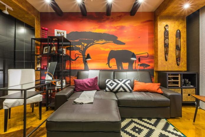 Особенности дизайна гостиной с фотообоями: рисунки, цвет, комбинирование, фото