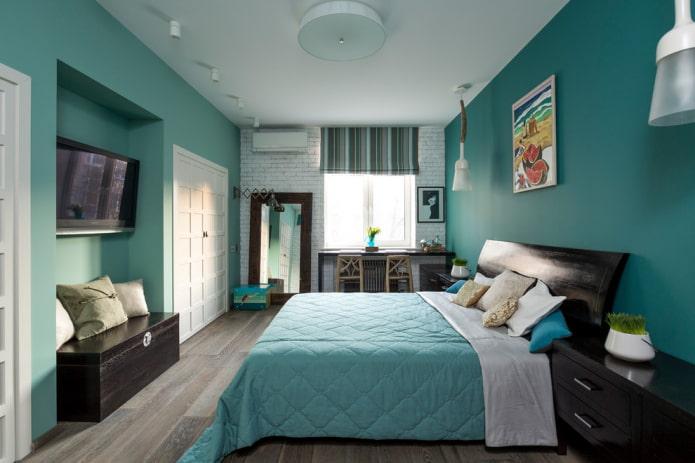 Спальня в бирюзовых тонах: дизайн-секреты и 55 фото