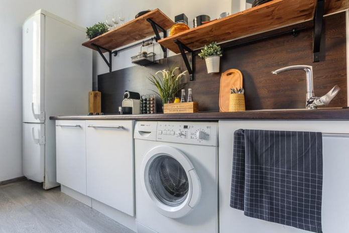 Обзор лучших решений по размещению стиральной машины на кухне