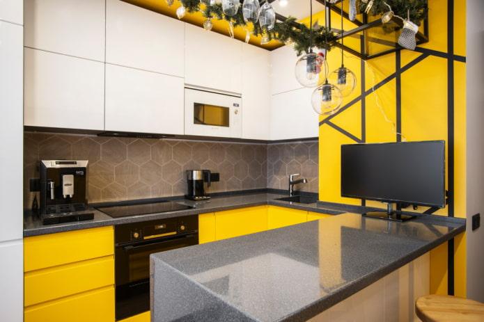 Всё о дизайне П-образной кухни (50 фото)
