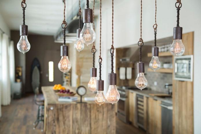 10 идей организации освещения в стиле лофт