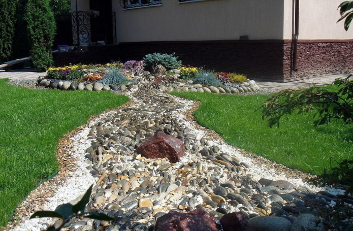 Как оформить сухой ручей на участке?