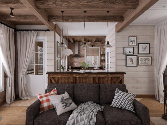 Всё о дизайне гостиной на даче