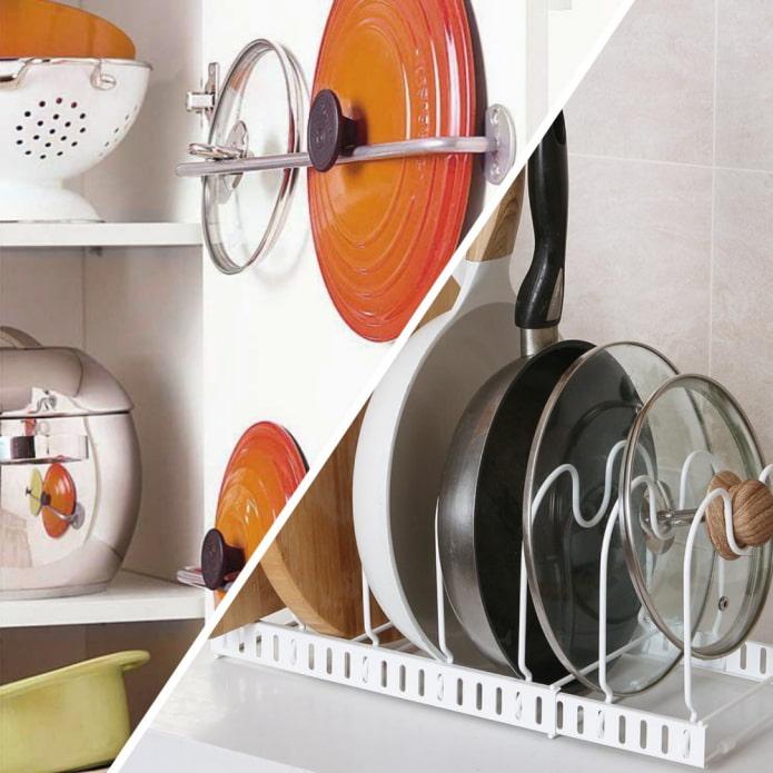 13 идей хранения крышек от кастрюль и сковородок на кухне