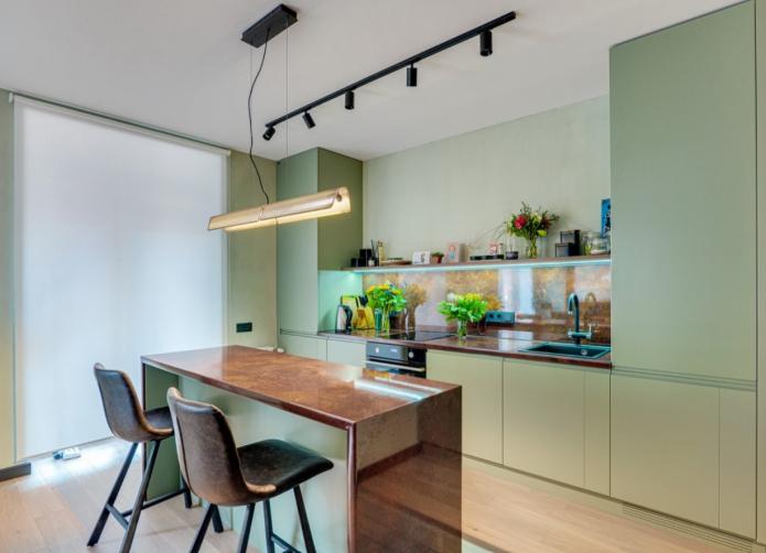 Как оформить интерьер кухни в фисташковом цвете?