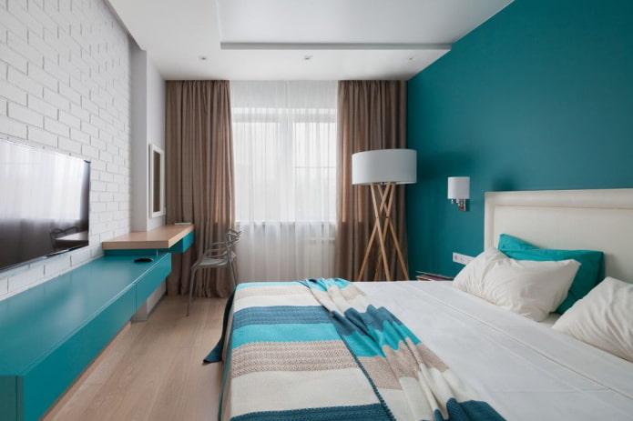 Правила сочетания штор и покрывала в спальне