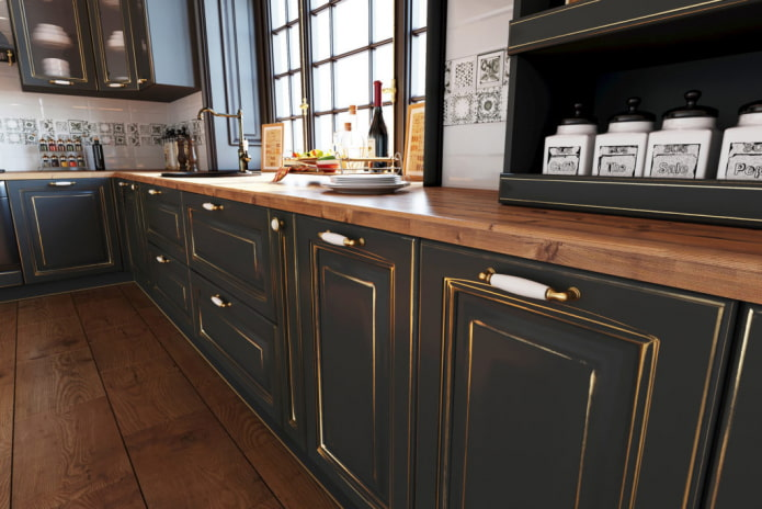 Как оформить кухню с патиной?
