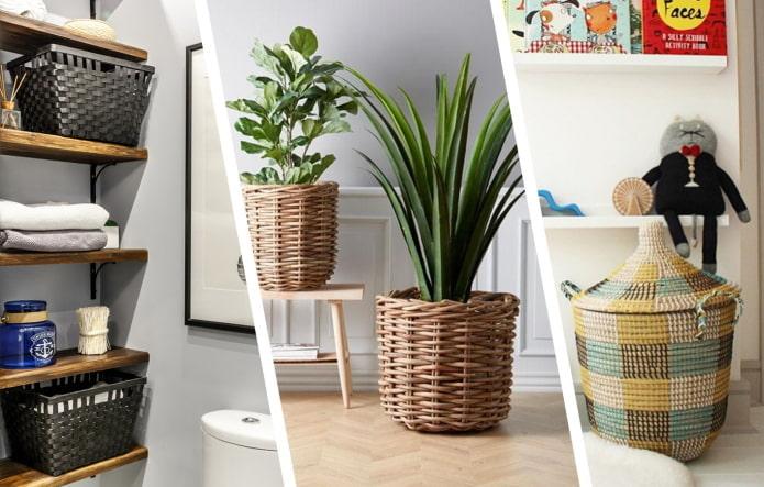 Красивые идеи использования плетеных корзин