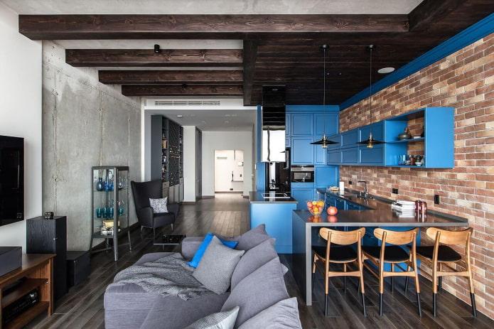 Как оформить кухню-гостиную в стиле лофт?