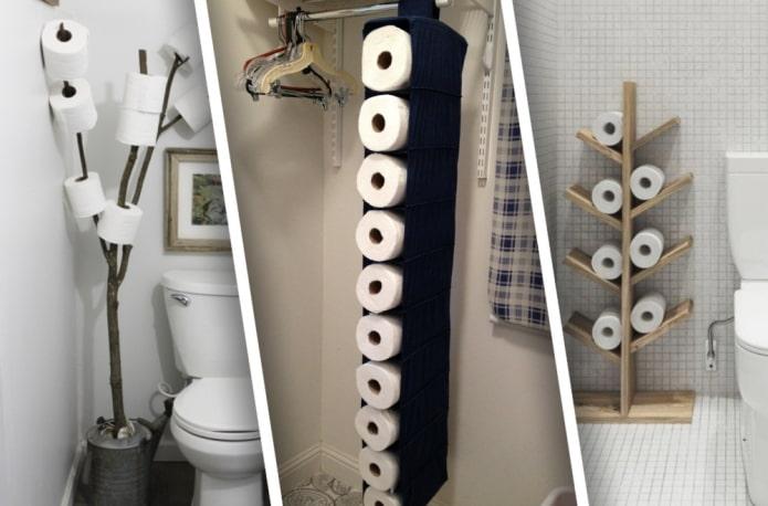 Идеи хранения туалетной бумаги