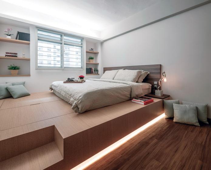 Подиум в квартире: дизайн, варианты использования, отделка, 70 фото в интерьере