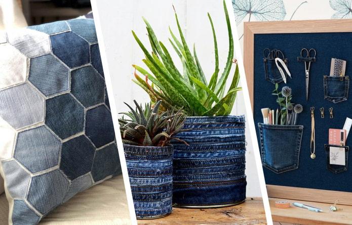 Как использовать самодельный декор из джинсов в интерьере?