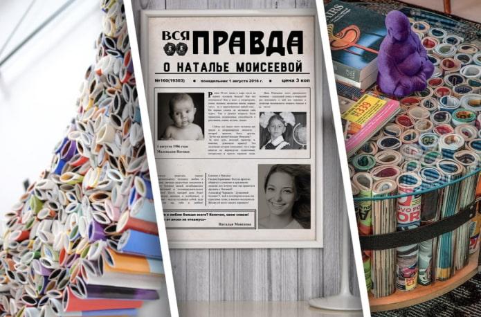 Примеры использования старых газет и журналов в интерьере