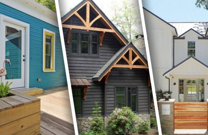 Примеры покраски фасада деревянных домов
