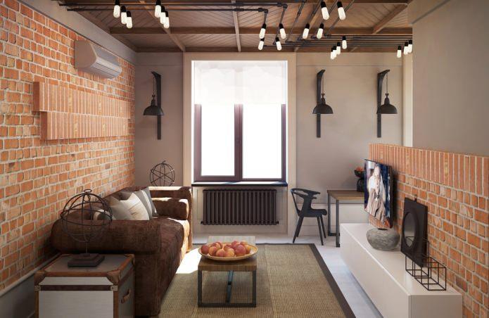 Дизайн интерьера квартиры 37 кв. м. в стиле лофт