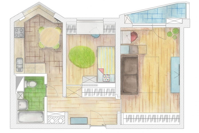 Дизайн двухкомнатной квартиры 55 кв. м.