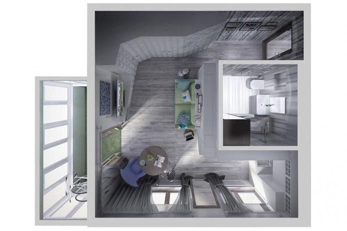 Дизайн-проект маленькой квартиры 34 кв. м.