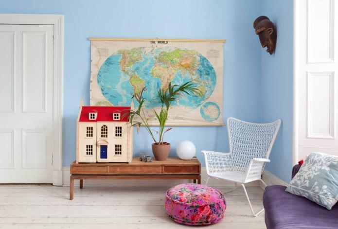 Карта мира в интерьере: особенности, фото