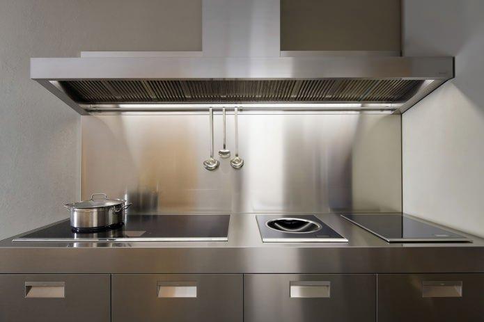 Металлический фартук для кухни: особенности, фото
