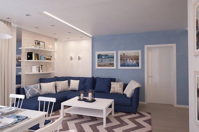 Интерьер гостиной в синих тонах: особенности, фото