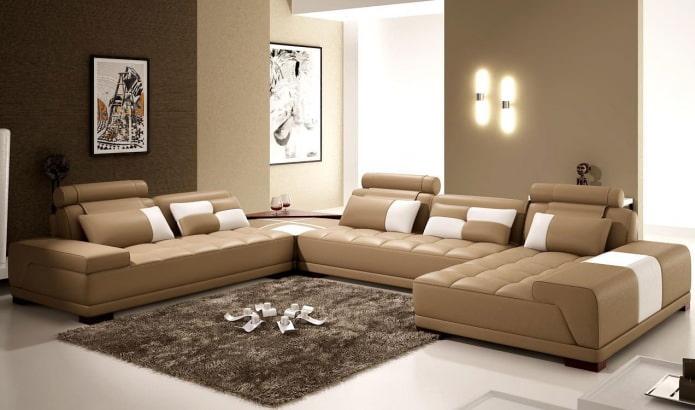 Интерьер гостиной в коричневых тонах: особенности, фото